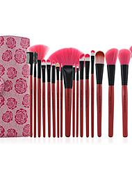 Недорогие -Pro Высокое качество 18 ПК Синтетический Макияж Щетка для волос Набор с розовой розы мешок