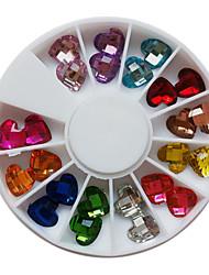 24PCS 12-Color Glitter Loving Heart Shaped Pedrinhas Decorações Nail Art