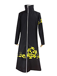 cheap -Inspired by One Piece Trafalgar Law Anime Cosplay Costumes Cosplay Suits Solid Long Sleeves Coat For Male