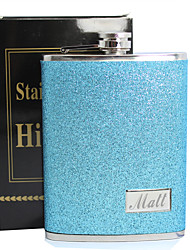 cheap -Personalized Father's Day Gift Blue Splash 8oz PU Leather Flask