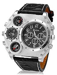 Недорогие -Oulm Муж. Армейские часы Наручные часы Кварцевый Японский кварц Термометр С двумя часовыми поясами Cool Кожа Группа Аналоговый Черный / Коричневый - Черный Коричневый Два года Срок службы батареи