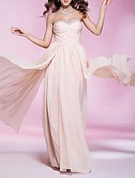 preiswerte -Mantel / Spalte trägerlosen Schatz bodenlangen Chiffon Abendkleid mit Perlen von ts couture®
