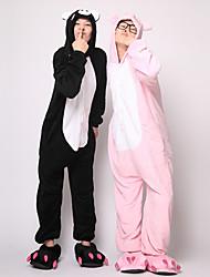 billige -Voksne Kigurumi-pyjamas Grisebasse Onesie-pyjamas Kostume Flanel Fleece Sort Cosplay Til Nattøj Med Dyr Tegneserie Halloween Festival / Højtider