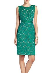 YJS Elegant rund krave uden ærmer Lace Stitching Dress (Grøn)