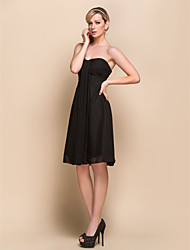 cheap -A-Line Strapless Sweetheart Knee Length Chiffon Bridesmaid Dress with Criss Cross by LAN TING BRIDE®