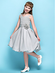 cheap -A-Line Straps Knee Length Chiffon Junior Bridesmaid Dress with Flower(s) Criss Cross Ruching by LAN TING BRIDE®