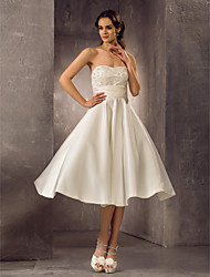 A-Line Strapless Tea Length Lace Satin Wedding Dress with Beading Sash / Ribbon by LAN TING BRIDE®
