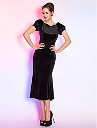 Sereia Rainha Anne Longuette Veludo Coquetel Reunião de Classe Feriado Vestido com Pregas de TS Couture®