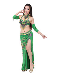 Belly Dance Outfits Women's Performance Polyester Crystals/Rhinestones Tassel(s) Sleeveless
