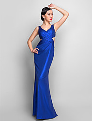 Mermaid / Trumpet V-neck Floor Length Jersey Formal Evening Military Ball Dress with Side Draping Criss Cross by TS Couture®