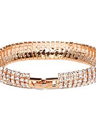 baratos -Mulheres Bracelete / Tênis Pulseiras - Cristal, Chapeado Dourado, Imitações de Diamante Original, Fashion Pulseiras Para Festa / Diário
