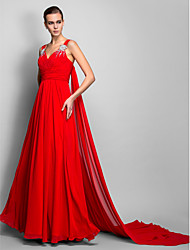 cheap -A-Line Princess Straps Floor Length Chiffon Formal Evening Dress with Draping Ruched Crystal Brooch by TS Couture®