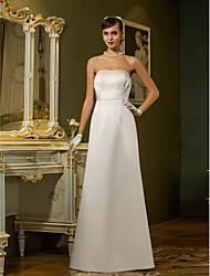 cheap -Sheath / Column Strapless Floor Length Satin Made-To-Measure Wedding Dresses with Draping / Pocket by LAN TING BRIDE®