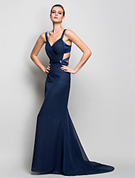 cheap -Mermaid / Trumpet Straps Sweep / Brush Train Chiffon Beautiful Back Formal Evening Dress with Side Draping by TS Couture®