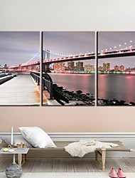 Rastegnut Canvas Art Pejzaž Manhattan Bridgel Set od 3