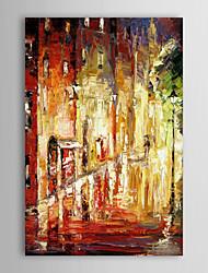 economico -Dipinto a mano olio pittura di paesaggio piovoso Street, con telaio allungato