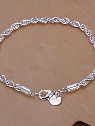 Classic 20cm Women's Silver Alloy Chain & Link Bracelet(1 Pc)