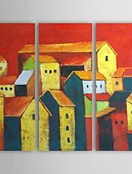 economico -Dipinto a mano olio pittura di paesaggio incantevole città con telaio allungato Set di 3