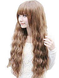 Corn Roll Deep Wave Brown Full Bang Synthetic Long Wavy Wig Heat Resistant