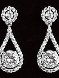 abordables -Los pendientes de gota de la mujer elegante plateado platino con Zircon forma de gota