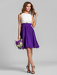 cheap -A-Line Jewel Neck Short / Mini Chiffon Bridesmaid Dress with Ruched Criss Cross by LAN TING BRIDE®