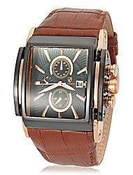 Недорогие -Мужской Наручные часы Кварцевый Японский кварц Календарь Кожа Группа Коричневый марка