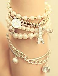 Da donna Dell'involucro del braccialetto Multistrato bigiotteria Perla Perle finte Lega Torre Gioielli Per Feste Quotidiano Casual