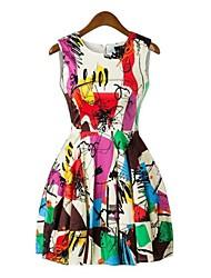 baratos -Feminino Vestido Arco-Íris Médio Sem Manga Primavera Verão Sem Elasticidade Opaca Média