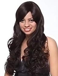 Capless ekstra lang høj kvalitet syntetisk naturligt look sort krøllet hår paryk