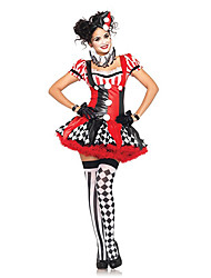 cheap -Burlesque Clown Harley Quinn Circus Cosplay Costume Party Costume Women's Halloween Carnival Festival / Holiday Halloween Costumes Red