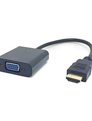 Black HDMI Source to VGA Output & 3.5 mm Stereo Audio Cable Converter Adapter for HDTV PC 1080P