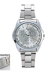 cheap -Personalized Gift  New Style Men's White  Dial  Stainless Steel Band Contracted Analog Engraved Watch
