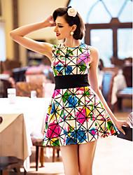 povoljno -TS Ispis Grid Slim Cut rukava haljina