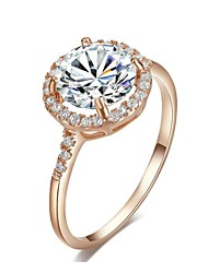 cheap -18K Rose Gold Plated Cut Swiss Cubic Zirconia Diamond Halo Engagement Ring  Imitation Diamond Birthstone