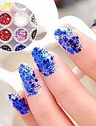 1PCS Hexagonal Glitter Tablets Decorações Nail Art NO.19-24 (cores sortidas)