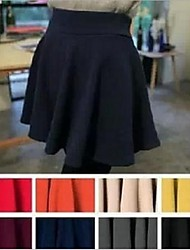 Women's Casual/Daily Mini Skirts,Cute A Line Pleated Solid All Seasons