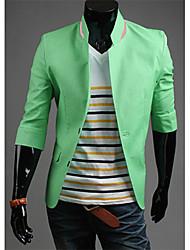 Masculino Blazer Casual Cor Solida Manga Comprida Algodão Preto / Azul / Verde / Rosa