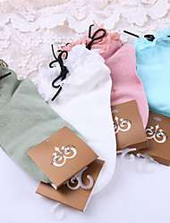cheap -Socks / Long Stockings Sweet Lolita Dress Lace Up Women's White Green Blue Pink Lolita Accessories Lace Socks Polyester Cotton
