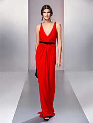 cheap -Copy To A-line V-neck Sweep/Brush Train Jersey Evening Dress (759851)