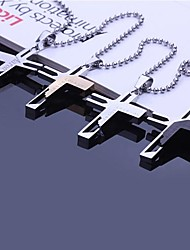 Personalized Gift  Stainless Steel  Cross Shaped  Engraved Pendant Necklace Jewelry with 60cm Chain (Assorted Colors)