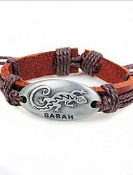 z&caffè leatherz uomini X® 24 centimetri moda gecko&braccialetto di cuoio della lega (1 pc)