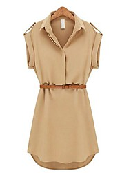 cheap -Women's Casual Solid Shirt Collar Short Sleeve Mini Belted Chiffon Dress