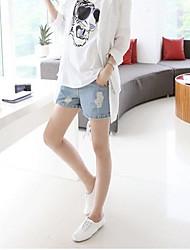 baratos -Mulheres Gravidez Micro-Elástica Shorts Calças, Algodão Poliéster Elastano Verão