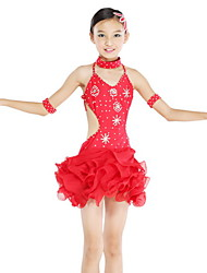cheap -Latin Dance Dresses Children's Performance Chiffon Spandex Crystals/Rhinestones