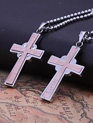 Aço inoxidável é um presente personalizado Rosa Men ouro colar de pingente Cruz Formas gravado jóias com 60 centímetros Cadeia
