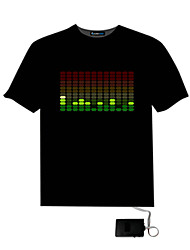 billige -Mænds Sound Aktiveret Light Up And Down DJ Disco Dancing LED EL T Shirt