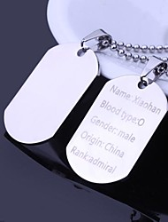 cheap -Personalized Gift Men's Jewelry Military Card Design Engraved Pendant Necklace with 60cm Chain