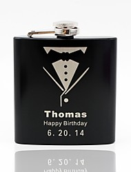 Gift Groomsman Personalized Black Stainless Steel 6-oz Flask