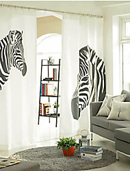 cheap -Two Panels Curtain Designer , Print Animal Bedroom Linen / Cotton Blend Material Curtains Drapes Home Decoration