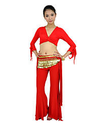 Belly Dance Tops Women's Training Mercerized Cotton Ruffles Half Sleeve